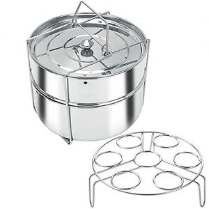 Stackable Stainless Steel Pressure Cooker Steamer Insert Pans with Sling and egg rack - For hot pots - Food Steamer for cooking (6 Quart)