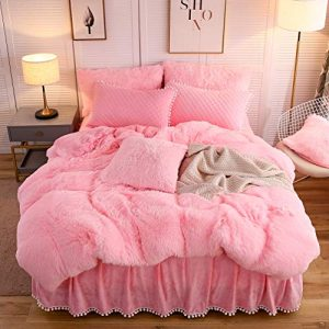 LIFEREVO Luxury Plush Shaggy Duvet Cover Set (1 Faux Fur Duvet Cover + 2 Pompoms Fringe Pillow Shams) Solid, Zipper Closure (Queen Pink)