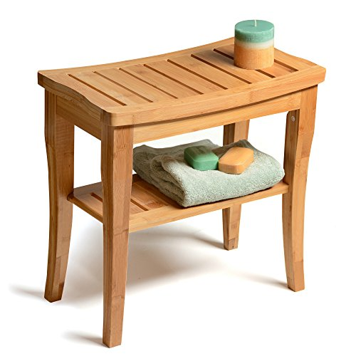 Bambusi Shower Bench Stool with Shelf - Bamboo Spa Bathroom Decor - Wood Seat Bench for Indoor or Outdoor Use