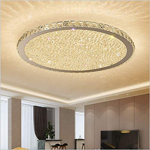 Ladiqi Crystal Round LED Flush Mount Ceiling Light Luxury Modern Close to Ceiling Light Indoor Chandelier Lighting Fixture for Living Room Bedroom Dining Room Restaurant (Warm, 12'')
