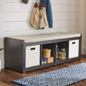 Better Homes and Gardens 4-Cube Storage Organizer Bench (4-Cube, Espresso)