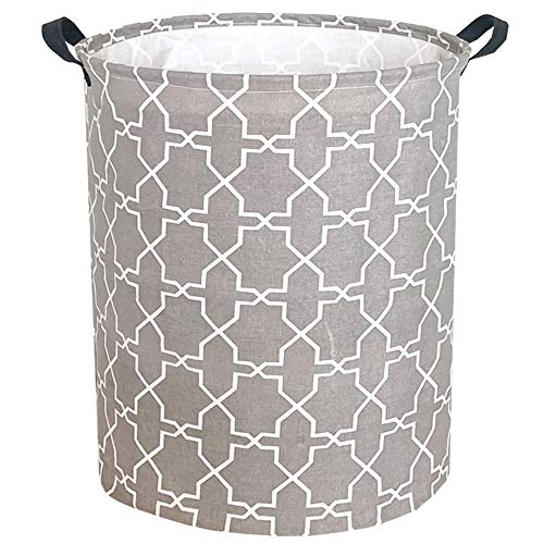 "Sanjiaofen 19.7"" Large Laundry Hamper Bucket Waterproof Coating Storage Bin Collapsible Washing Basket Home Nursery Toy Organizer,Canvas Storage Basket with Stylish Design(Grey Polygon)"
