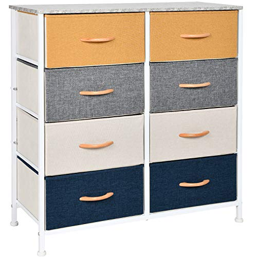 WAYTRIM 4-Tier Wide Drawer Dresser, Storage Unit with 8 Easy Pull Fabric Drawers and Metal Frame, Wood Top, Organizer Unit for Bedroom, Hallway, Entryway, Closets - Orange, Blue, Gray