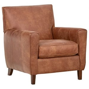 "Amazon Brand – Rivet Lawson Mid-Century Modern Angled Leather Arm Chair, 33""W, Saddle Brown"