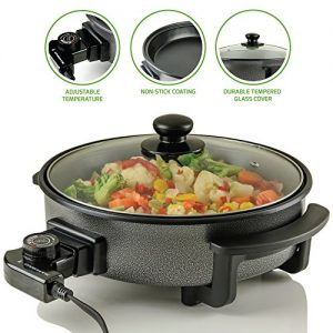 Ovente Electric Skillet 12 Inch with Non Stick Aluminum Body and Glass Cover, 1400 Watts Power Temperature Control for Pizza, Steak, Breakfast and More, Perfect Gift for Everyone, Black (SK11112B)