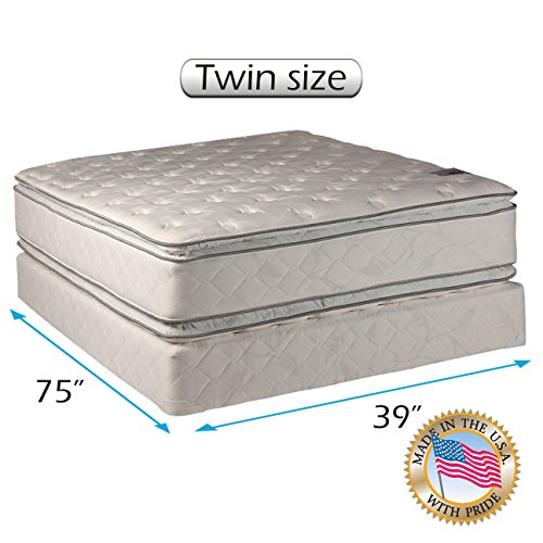 """Dream Solutions Pillow Top Mattress and Box Spring Set - Double-Sided Sleep System with Enhanced Cushion Support- Fully Assembled, Great for Your Back, longlasting Comfort (Twin - 39""""x75""""x12"""")"""