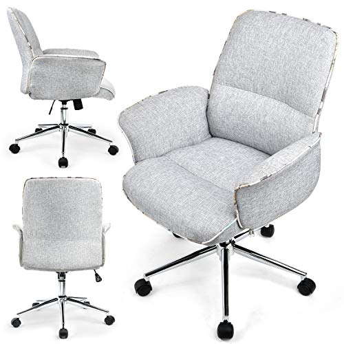 ComHoma Home Office Desk Chair Modern Fabric Upholstered Classic Adjustable Mid-Back Ergonomic Executive Conference Chair Gray,BIFMA Certified