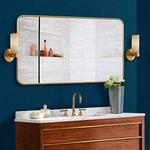 """MDEPYCO Simple Metal Wall Mounted Bathroom Toilet Mirror, Clothing Store Fitting Mirror, Living Room Decor Mirror, Bedroom Dressing Table Cosmetic Mirror,Home Entryway Mirror (Gold, 47.2"""" x 24"""")"""