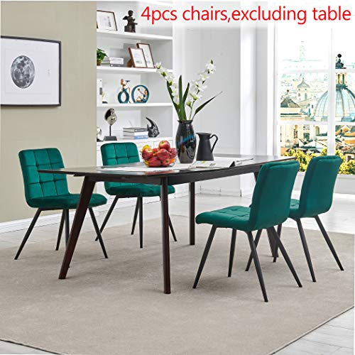 Upholstered Velvet Dining Chairs,Tufted Accent Living Room Chairs with Metal Legs for Living Room/Kitchen/Vanity Set of 4 Atrovirens