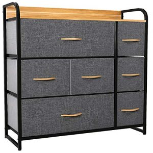 YITAHOME Dresser with 7 Drawers - Fabric Storage Tower, Organizer Unit for Bedroom, Living Room, Hallway, Closets & Nursery - Sturdy Steel Frame, Wooden Top & Easy Pull Fabric Bins (Cool Grey)
