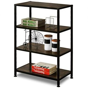 GreenForest 4-Tier Bookshelf Industrial Open Shelf Bookcase with Metal Frame for Home and Office Storage Display Shelves, Rustic Walnut