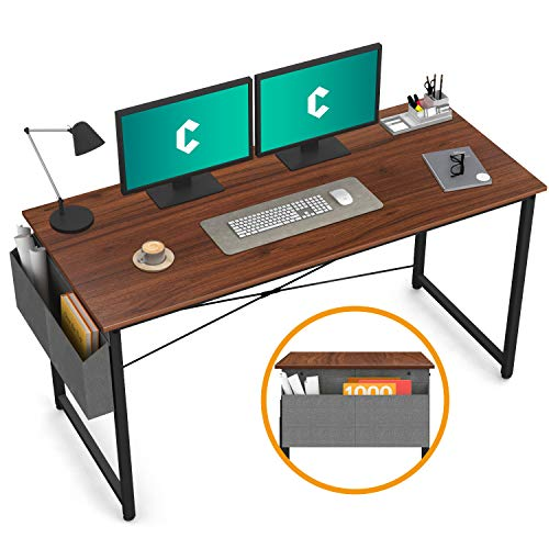 """Cubiker Computer Desk 55"""" Home Office Writing Study Desk, Modern Simple Style Laptop Table with Storage Bag, Espresso"""