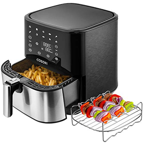 COSORI Stainless Steel Air Fryer (100 Recipes, Rack & 5 Skewers), 5.8Qt Large Air Fryers XL Oven Oilless Cooker, Preheat/Alarm Reminder, 9 Presets, Nonstick Basket, ETL Listed