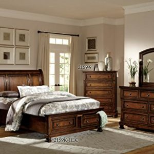 Homelegance Mardelle Sleigh Platform Bed, King, Cherry