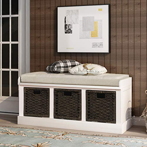 P PURLOVE Rustic Storage Bench Entyrway Bench with 3 Removable Basket, Fully Assembled Shoe Bench Storage Bench for Entryway Bench with Removable Cushion for Living Room