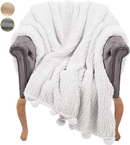 GREEN ORANGE Throw Blanket for Couch - 50x60, Ivory White with Pom Poms - Fuzzy, Fluffy, Plush, Soft, Cozy, Warm Fleece Cover - Perfect for Bed, Sofa
