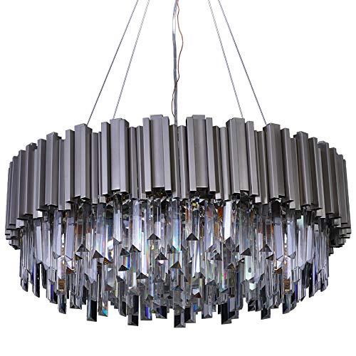 "MEELIGHTING Luxury Nickel Modern Crystal Chandelier Lights Pendant Ceiling Light Contemporary Chandeliers Lighting Fixture for Dining Living Room Kitchen Island Bedroom W28"""