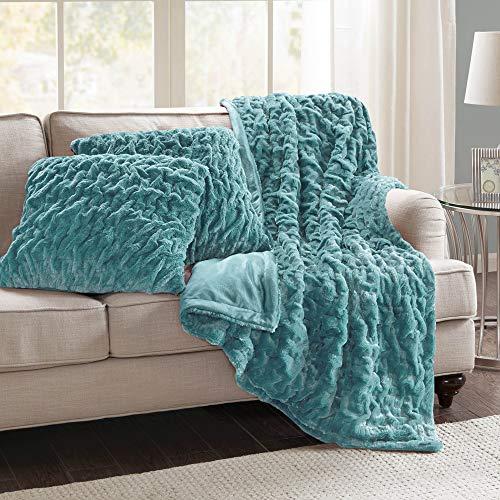 """Comfort Spaces Ruched Faux Fur Plush 3 Piece Throw Blanket Set Ultra Soft Fluffy with 2 Square Pillow Covers, 50""""x60"""", Teal"""