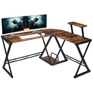 "GreenForest L Shaped Desk 58"" x 44"" with Moveable Shelf, Studio Table Home Office Computer Corner Desk for Working Studying Gaming PC Workstation with CPU Stand, Brown"