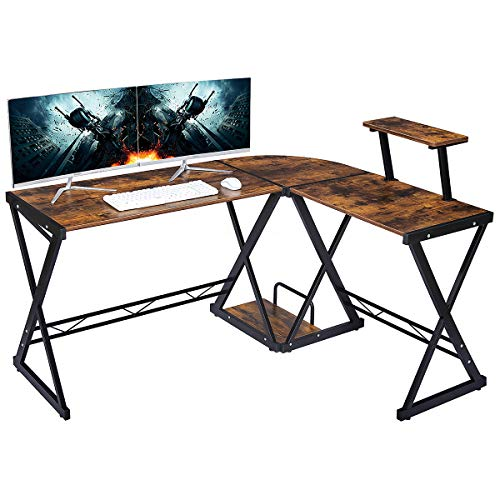 """GreenForest L Shaped Desk 58"""" x 44"""" with Moveable Shelf, Studio Table Home Office Computer Corner Desk for Working Studying Gaming PC Workstation with CPU Stand, Brown"""