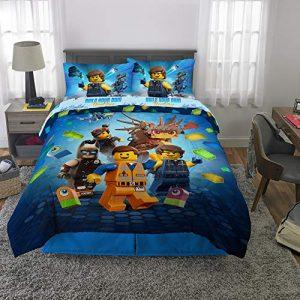 LEGO Movie 2 Kids Bedding Soft Microfiber Comforter and Sheet Set, Full Size 5 Piece Pack, Blue