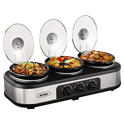 Triple Slow Cooker Buffet Server, 3 Pot Crock Pot Food Warmer, 3-Station 1.5-Quart Oval Slow Cooker Buffet Food Warmer Adjustable Temp Lid Rests Stainless Steel
