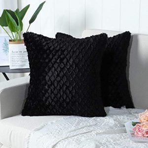 Mandioo Pack of 2 Luxury Soft Plush Faux Fur Decorative Throw Pillow Covers Set Cushion Cases Pillowcases for Couch Sofa Bedroom Car 18x18 Inches,Black