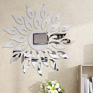 Wall Stickers Luxury 3D Sunflower Mirrors Wall Stickers Self Adhesive DIY Acrylic Wall Sticker Silver Home Decoration Wall Stickers Removable Round Flower Acrylic Mirror Decor(Sunflower)
