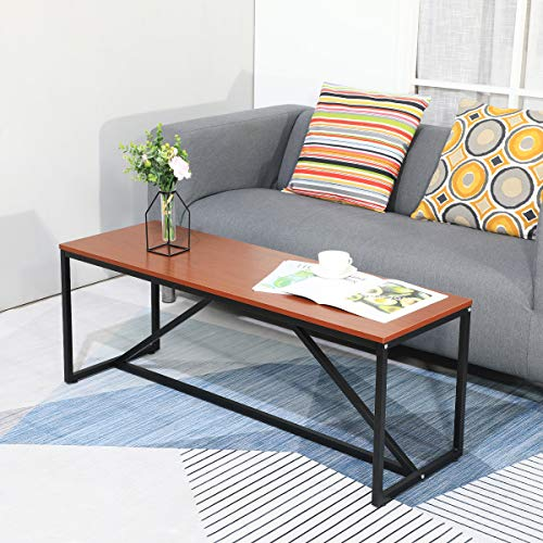 GreenForest Coffee Table Industrial for Living Room Rectangular TV Stand with Metal Box Frame 47.2 x 15.7 inch, Easy Assembly, Walnut