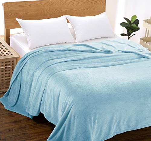 MARQUESS Thick Flannel Blanket Ultra Soft Lightweight Fleece Throw Cozy & Luxury Bed Blanket Sleeping Cover Rug for Bedroom Sofa Living Room and All Seasons Occasions 92x92''(Blue, Queen)