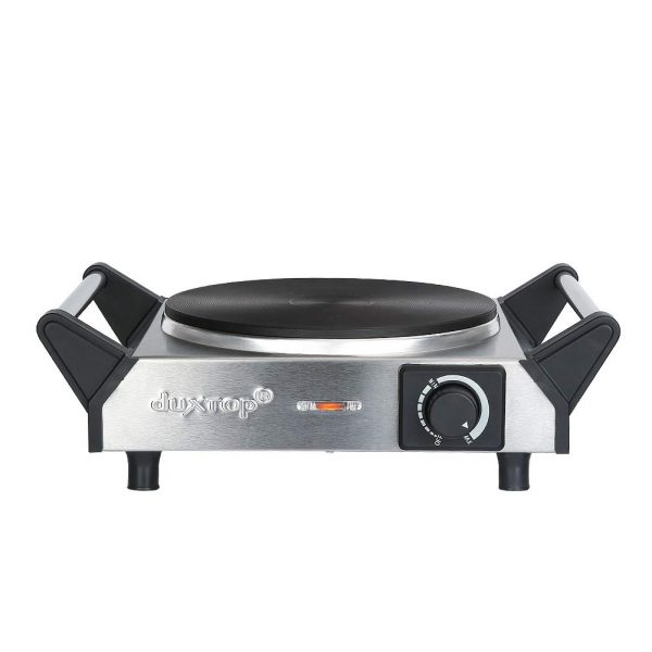 Duxtop ES-3102 1500W Portable Electric Cast Iron Cooktop Countertop Burner (Single) 7.4 Inches, Silver
