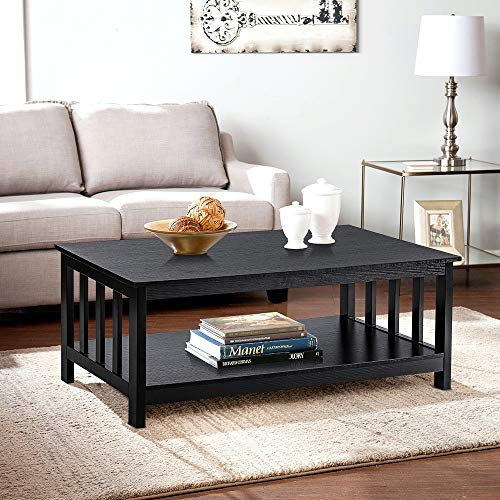 ChooChoo Black Wood Coffee Table for Living Room, Rectangle Mission Coffee Table with Shelf, 40 Inch, Easy Assembly