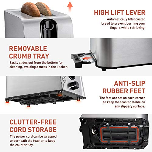 Toaster 2 Slice Best Rated Prime, NOVETE Retro Stainless Steel Toaster Toaster 2 Slice Best Rated Prime, NOVETE Retro Stainless Steel Toaster, 1.5'' Extra Wide Slot, 7 Shade Settings, Defrost/Reheat/Cancel Functions, Compact Bread Toaster for Breads/Bageles, 750W.