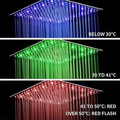 Fyeer 16 Inches LED Rainfall Shower Head Square, Ultra-thin Luxury Bathroom Model: Fyeer
