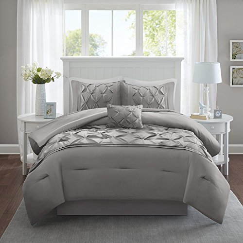 Comfort Spaces Cavoy Ultra Soft Hypoallergenic Microfiber Tufted Pattern 5 Piece Comforter Set Bedding, Queen, Gray