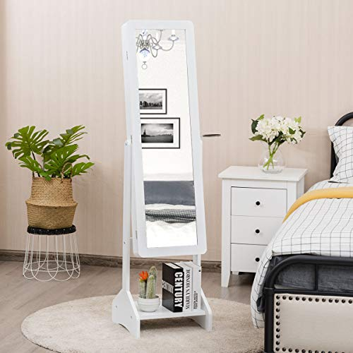CHARMAID Standing Jewelry Cabinet with Full-Length Mirror CHARMAID Standing Jewelry Cabinet with Full-Length Mirror, Jewelry Armoire with Hair Dryer Rack for Bedroom, 4 Angle Adjustable, Large Storage Capacity Jewelry Organizer Cabinet (White).