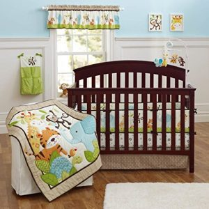 Brandream Crib Bedding Sets for Boys with Bumpers Nursery Jungle Baby Bedding Crib Set, Elephant Monkey 9PCS, Unisex