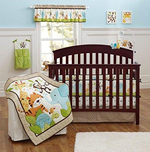 Brandream Crib Bedding Sets for Boys with Bumpers Nursery Jungle Baby Bedding Crib Set, Elephant Monkey 9PCS, Unisex