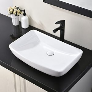 Hotis White Round Above Counter Porcelain Ceramic Bathroom Countertop Bowl Lavatory Vanity Vessel Sink