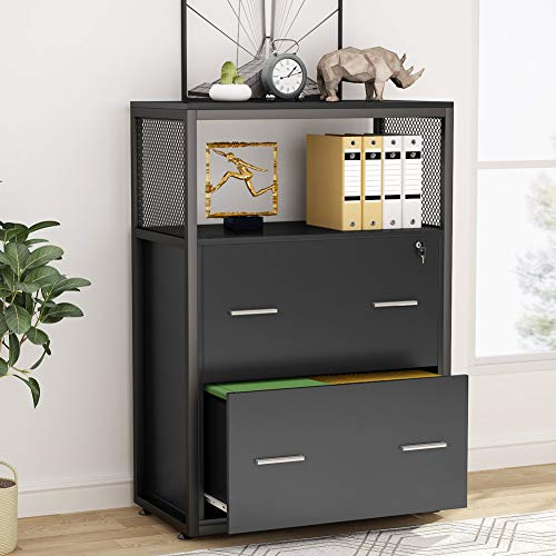 Tribesigns 2 Drawer Lateral File Cabinet with Lock, Letter/Legal / A4 Size, Large Modern Filing Cabinet Printer Stand with Metal Wire Open Storage Shelves for Home Office (Black)