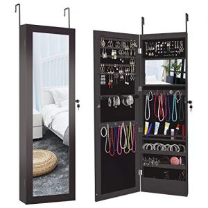 Herron LED Jewelry Cabinet Armoire with Mirror, Over The Door Jewelry Box or Wall Mounted Jewelry Organizer for Women to Store Jewelry,Brown
