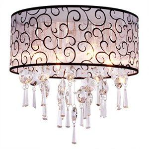 DINGGU Luxury Drum 4 Lights Flush Mounted Crystal Ceiling Lamp, Modern Chandelier Pendant Light Fixtures for Bedroom