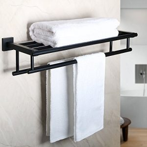 Alise GZ8000-B Bathroom Lavatory Towel Rack Towel Shelf with Two Towel Bars Wall Mount Holder,24-Inch SUS 304 Stainless Steel Matte Black