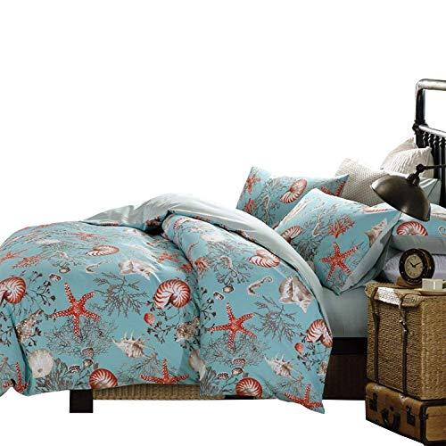 Brandream Luxury Nautical Bedding Designer Beach Themed Bedding Sets 3-Piece 100% Cotton Duvet Cover Set Bedding Set King Size 800TC(Sheets Sold Separately)