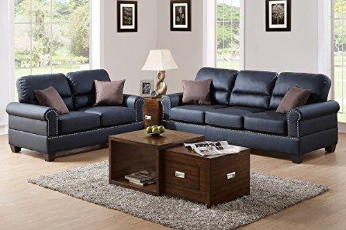 Poundex F7877 Bobkona Shelton Bonded Leather 2 Piece Sofa and Loveseat Set, Black