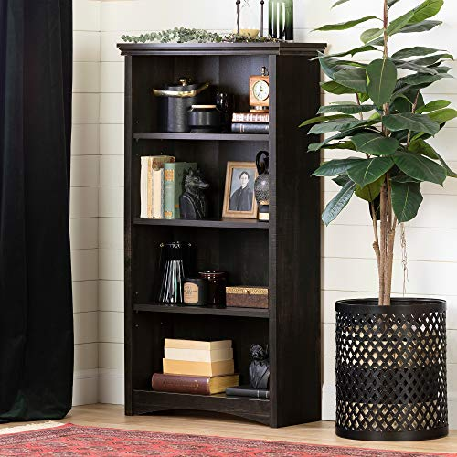 South Shore Gascony 4-Shelf Bookcase-Rubbed Black