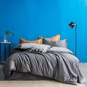 MILDLY Solid Color Gray Duvet Cover Sets Luxury Queen Comforter Cover with 2 Pillowcases 100% Egyptian Cotton (No Comforter)