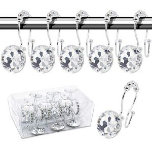BEAVO Decorative Shower Curtain Hooks,12 Pcs Double Glide Shower Curtain Rings Stainless Steel Rustproof Shower Hook Ring with Acrylic Crystal Rhinestones for Bathroom Shower Rods Curtains and Liner