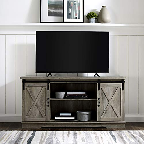 New 58 Inch Sliding Barn Door Television Stand - Grey Wash Finish