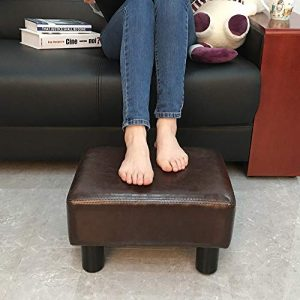 "scriptract 6"" Small Footstool PU Leather Ottoman Footrest Modern Home Living Room Bedroom Rectangular Stool with Padded Seat ,Brown"